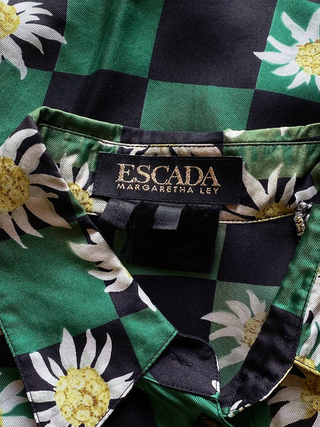 Escada Checkered Silk Blouse