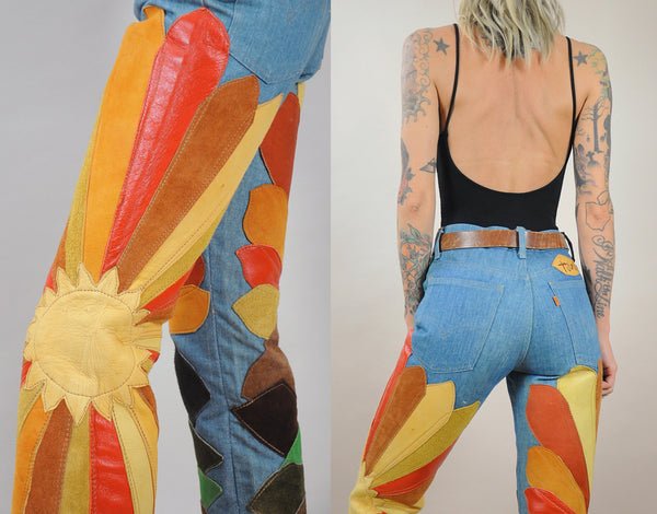 Rare 70's Suede Patch Sunrise Levi's