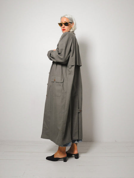 Olive Canvas Trench Coat