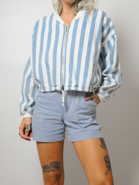 Striped Boxy Jean Jacket
