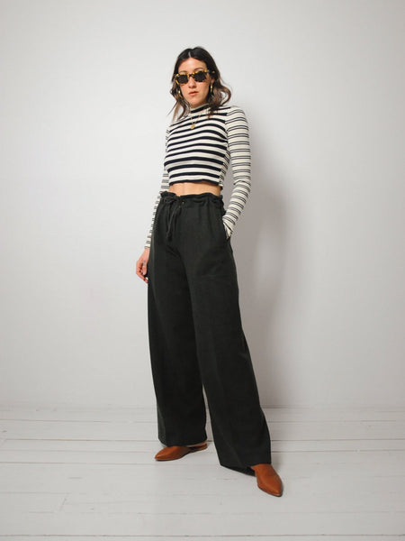 Wool Paperbag Wide Leg Trousers