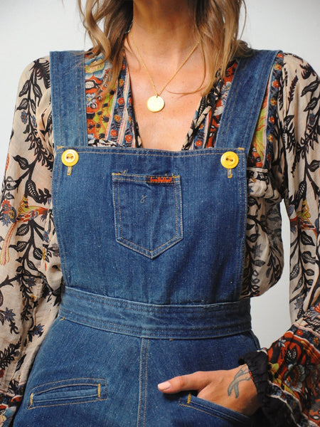 70's Landlubber Denim Overall Dress