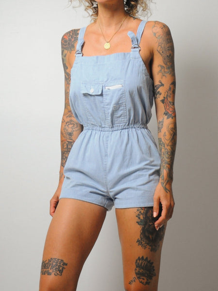 Cotton Pinstriped Romper