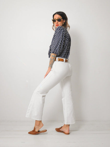 70's White Flared Jeans 32x28