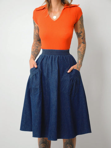 Indigo Denim Circle Skirt