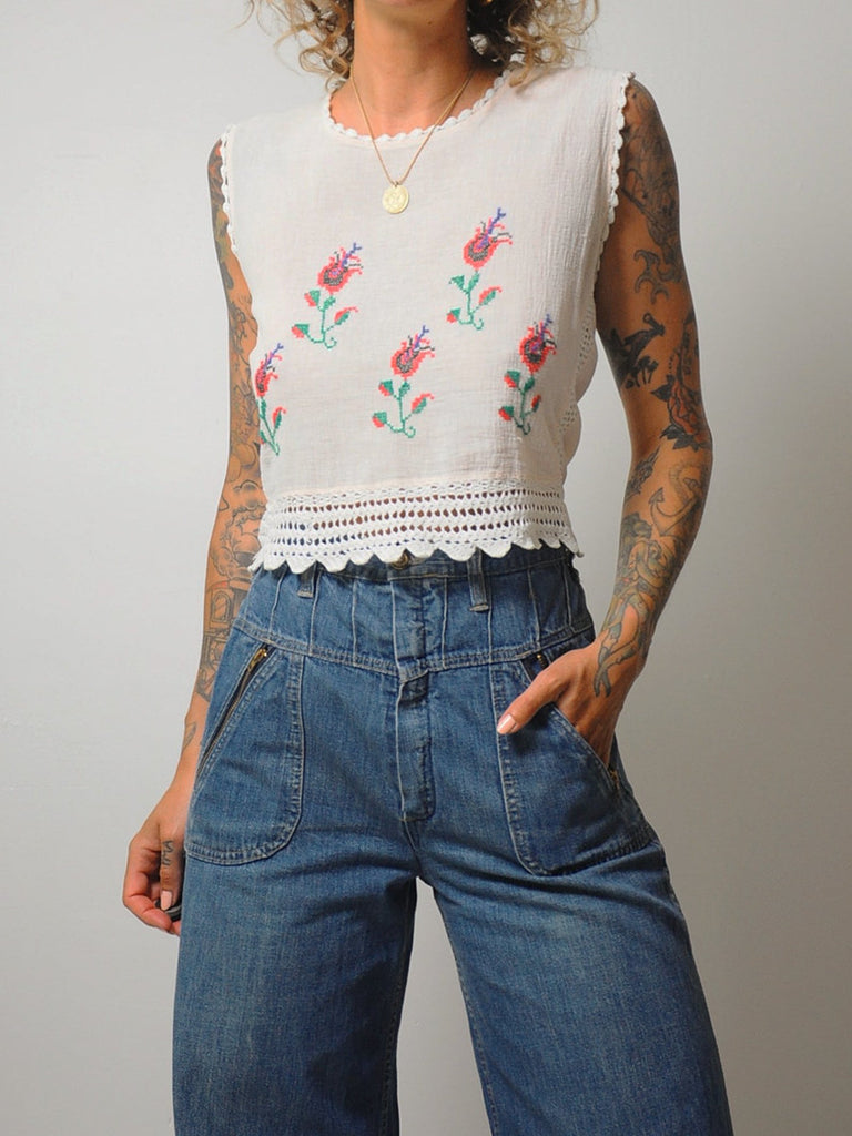 70's Crochet Embroidered Tank
