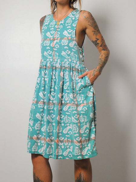 Batik Plaid Cotton Sundress