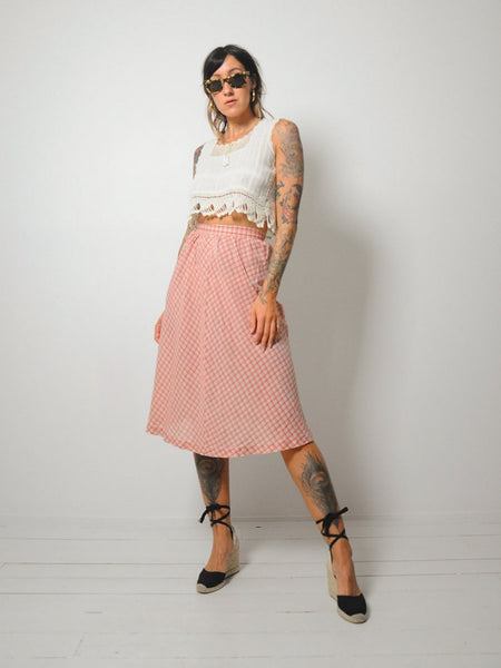 70's Thin Plaid Cotton Skirt