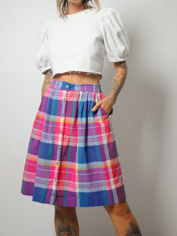 Rainbow Plaid Pocket Skirt