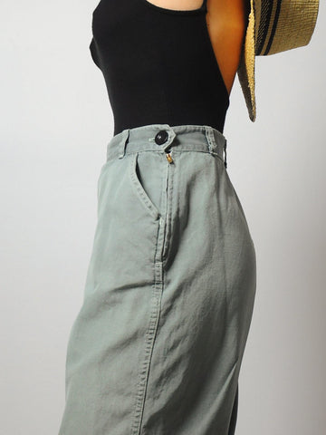 1940's Sage Green Side Zip Jeans