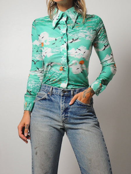 70's Seagull Cloud Blouse