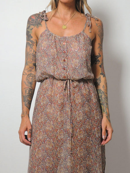 70's Sheer Paisley Floral Sundress