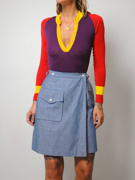 70's Denim Wrap Mini Skirt