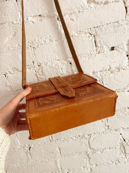 70's Leather Hand Tooled Box Purse