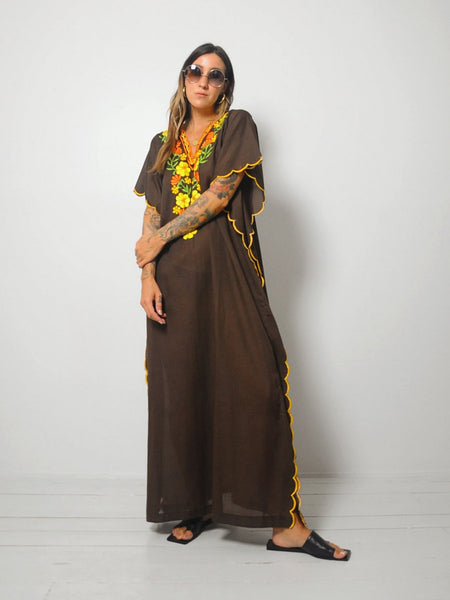 70's Embroidered Autumn Caftan