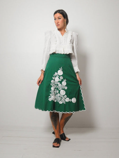 70's Embroidered Floral Wrap Skirt