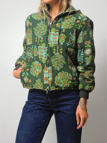 70's Folk Print Quilted Bomber