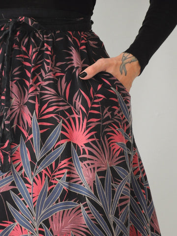 70's Jungle floral Pocket Wrap Skirt