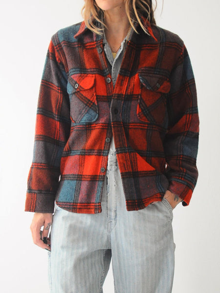 60's Wool Fox Plaid Flannel