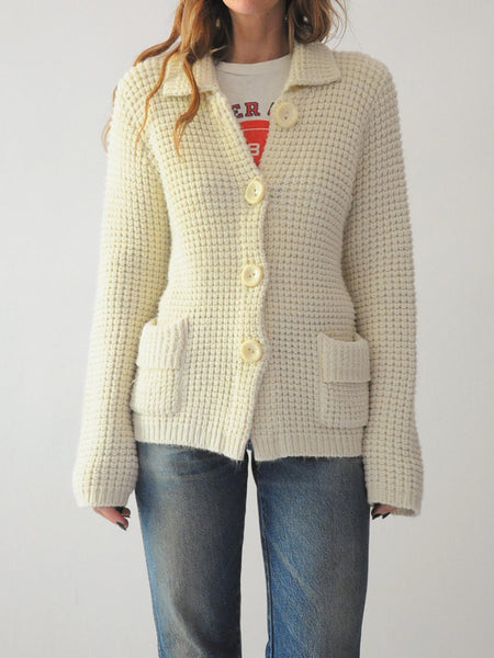 Parchment Waffle Knit Cardigan