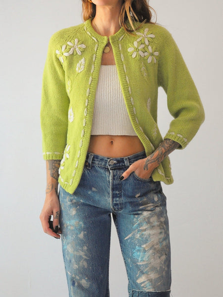 60's Floral Wool Cardigan Sweater
