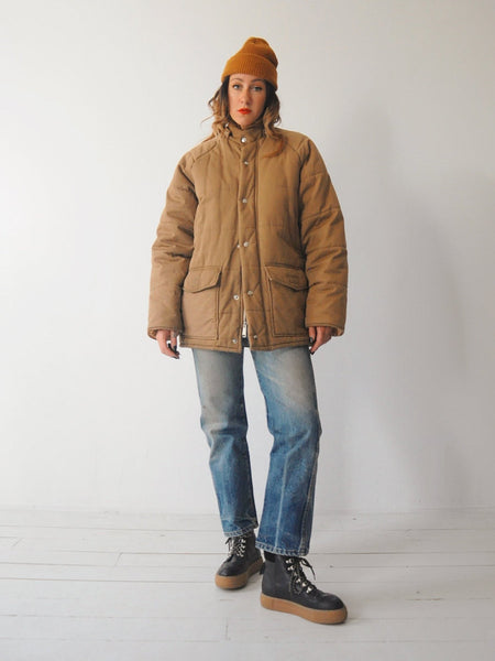 70's Camel Quilted Puffer Coat