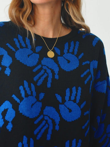 Hand Print Sweater Dress
