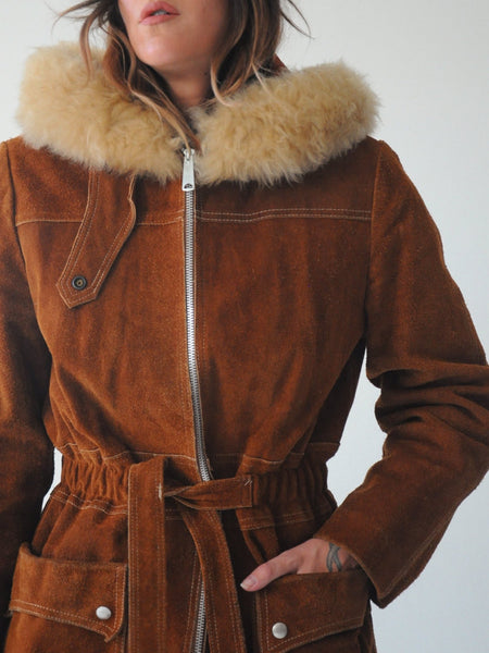 70's Shearling Hooded Suede Coat