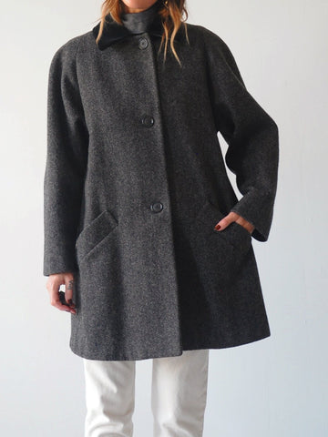 Wool Tweed Swing Coat