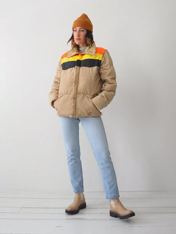 70's Colorblock Down Puffer Coat