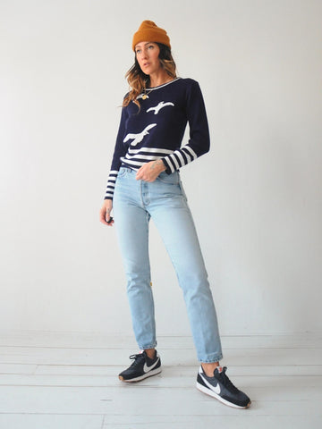 70's Seagull Striped Sweater