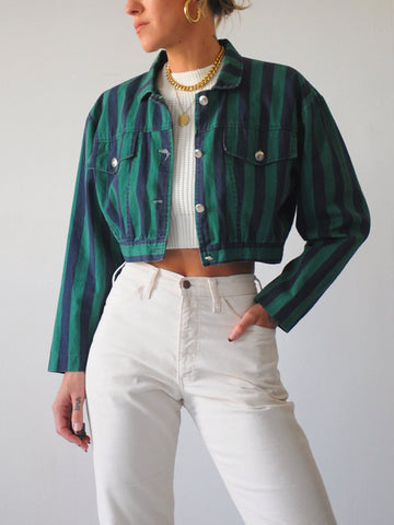 90's Striped Cropped Jacket