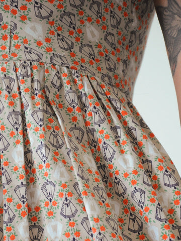 50's Bell & Floral Print Dress