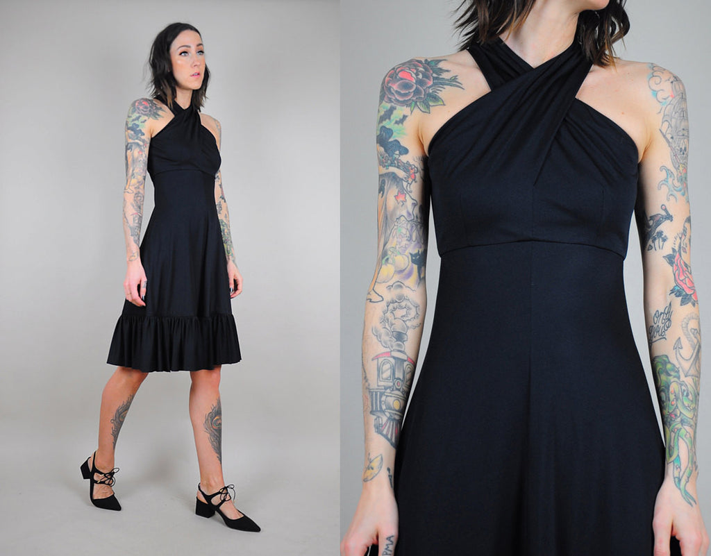 70's Black Halter Sundress