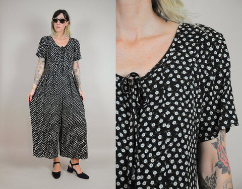 90's Gina Daisy Print Jumpsuit