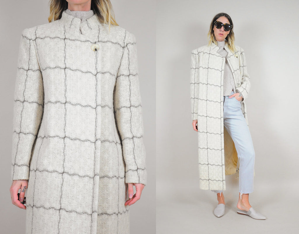 Windowpane Plaid Wool Coat