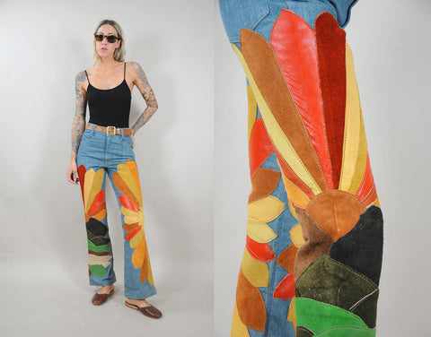 70's Embroidered Wildflower Bellbottoms