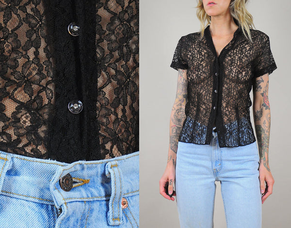 Sheer Black Lace Blouse