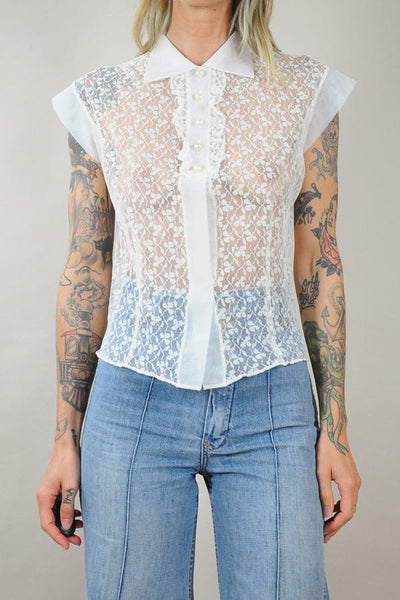 Sheer White Lace Blouse