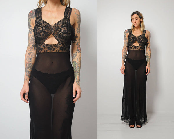 40's Black Sheer Slip Dress
