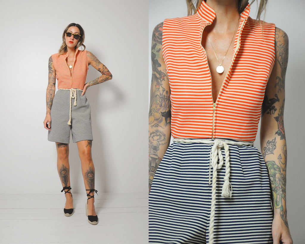 70's Sailor Striped Romper