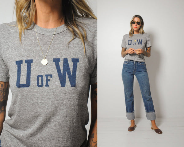 70's Thin 'U of W' College Tee