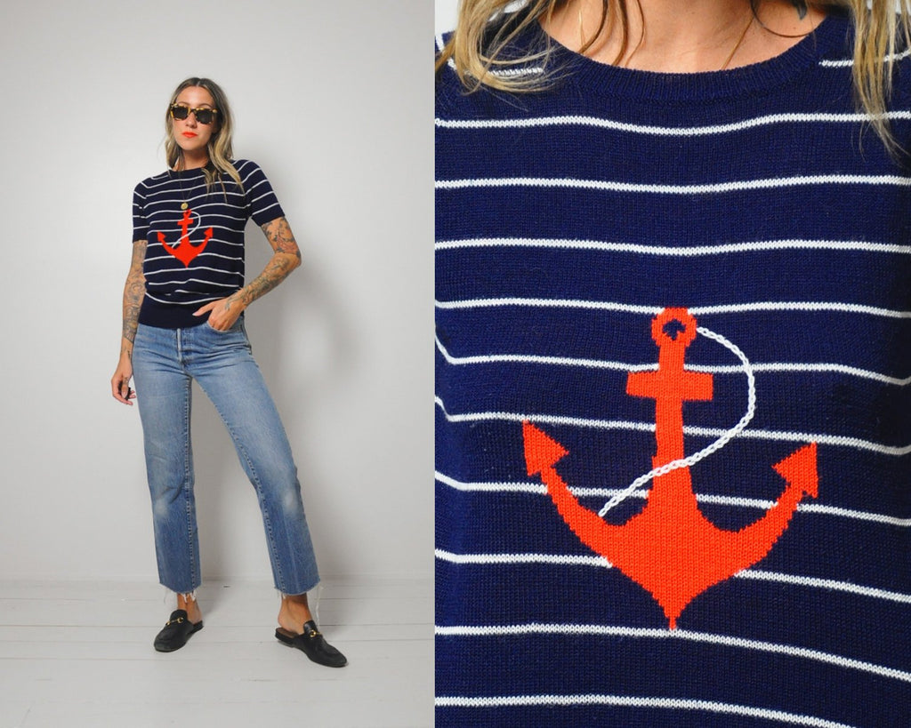 70's Anchor Striped Sweater