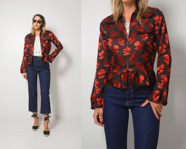 70's Cherry Peplum Jacket