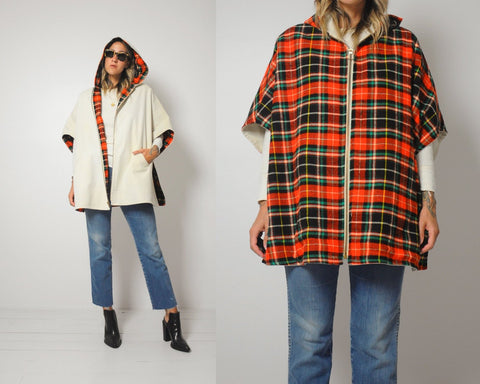 70's Tartan Plaid Reversible Cape