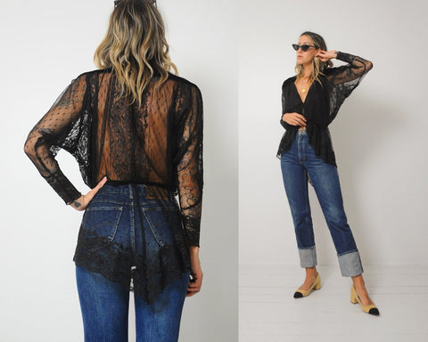 Sheer Lace Peplum Blouse