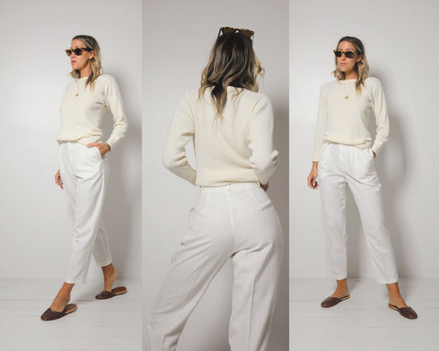 Petite Off White Trousers