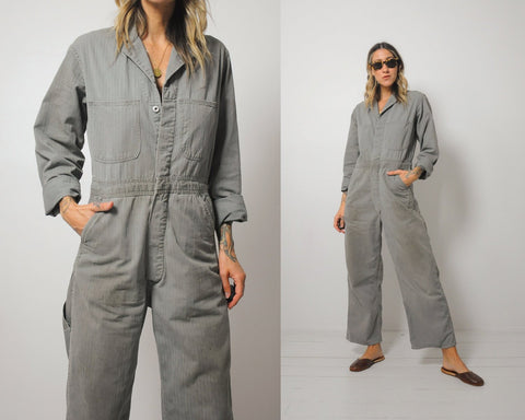 50's Herringbone Sage Denim Coveralls