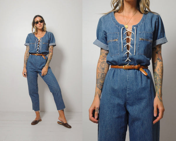 Denim Lace Up Jumpsuit