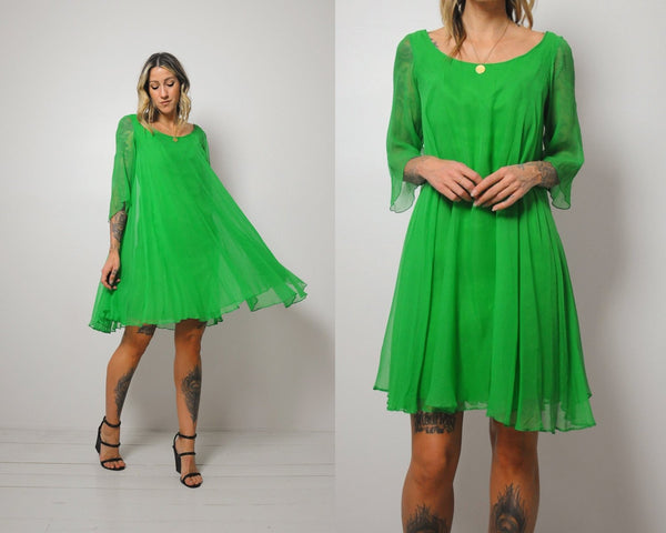 60's Festive Chiffon Dress